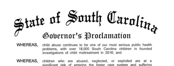 Gov. McMaster Proclaims April as Child Abuse Prevention Month in South Carolina